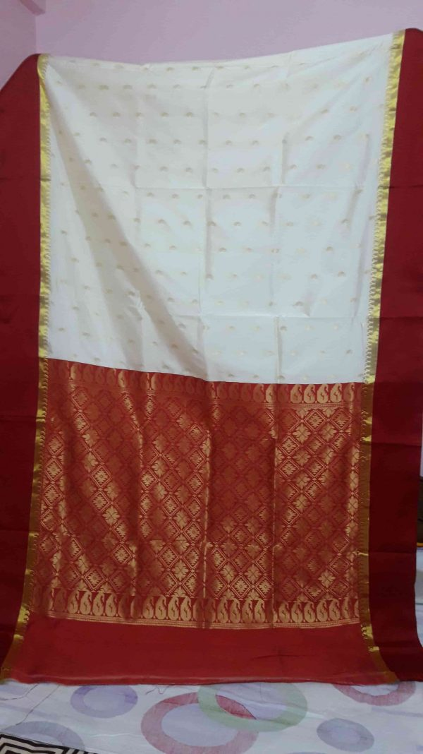 Garad Silk Saree - Off White and Red 1-min