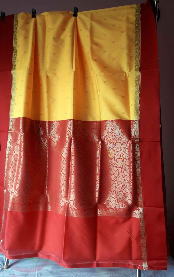 Garad Silk Saree - yellow and Red 1
