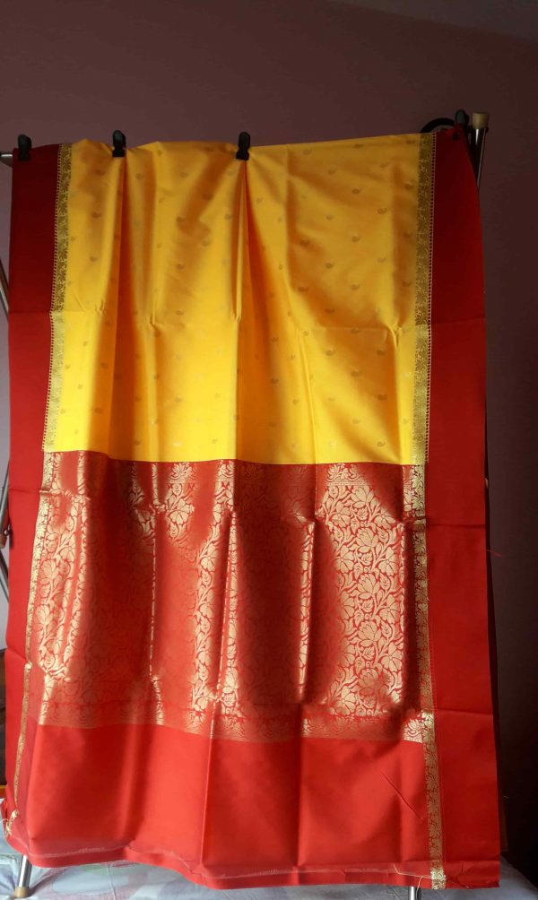 Garad Silk Saree - yellow and Red 3
