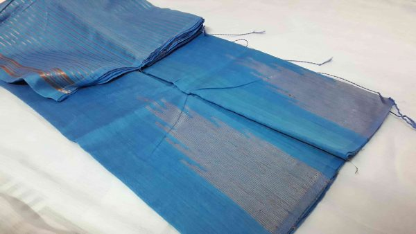cotton zari temple azure blue