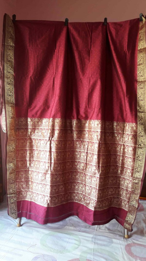 wine color baluchari silk 2