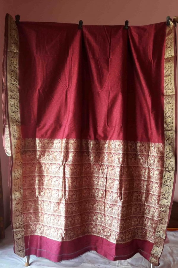 wine color baluchari silk 3