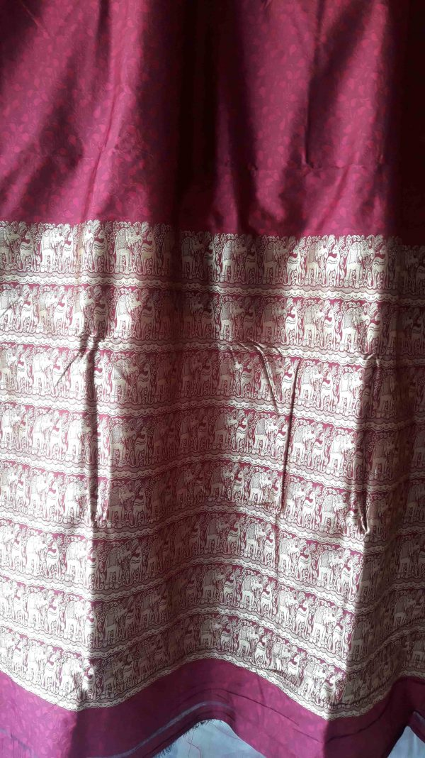 wine color baluchari silk