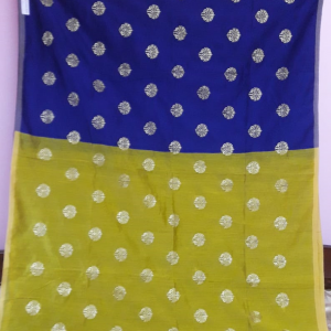 Blue Lime Yellow Saree