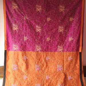 pink and orange cotton saree